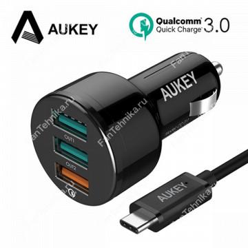 Автомобильное зарядное устройство Aukey CC-T11 3-Port (QC3.0 + 2 AiPower)