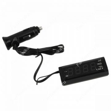 Автомобильные часы с термометром и вольтметром