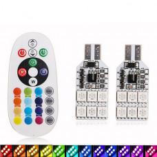 RGB лампы T10 (W5W) 12хSMD 5050 + пульт ДУ