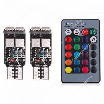 Светодиодные лампы T10 Canbus RGB 6хSMD5050 (2 шт)