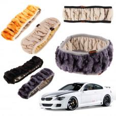 Меховой чехол (оплетка) на руль автомобиля (36-40 см)