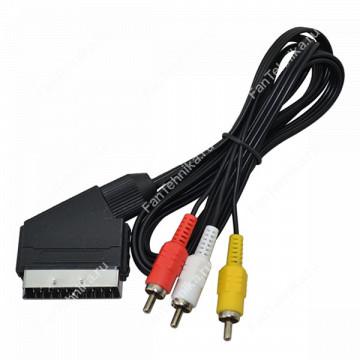 Аудио-видео кабель SCART - 3xRCA (тюльпан-штекер)