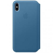 Чехол (флип-кейс) APPLE Leather Case, для Apple iPhone XS Max, синий