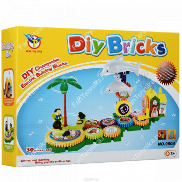 Конструктор-шестеренки Diy bricks Делифины 30 деталей