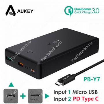 Внешний аккумулятор Aukey PB-Y7 + QC3.0 (30000 мАч)