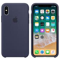 Силиконовый чехол для Apple iPhone X (Темно-синий)
