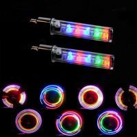 Многоцветные светодиодные колпачки на ниппель колеса, 5 светодиодов, 7 режимов (2 штуки / комплект)